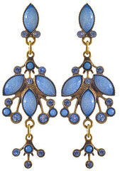 earring stud dangling Filigree blue Light antique brass