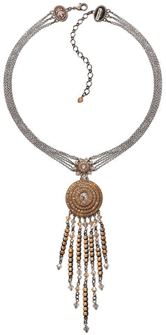 necklace-Y Maharani beige antique silver