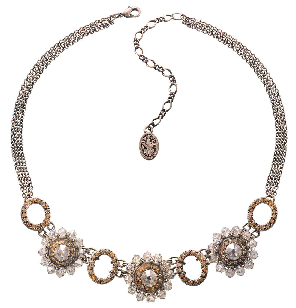 necklace Maharani beige antique silver