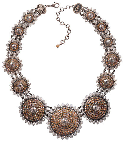 necklace collier Maharani beige antique silver