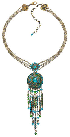 necklace-Y Maharani blue/green antique brass