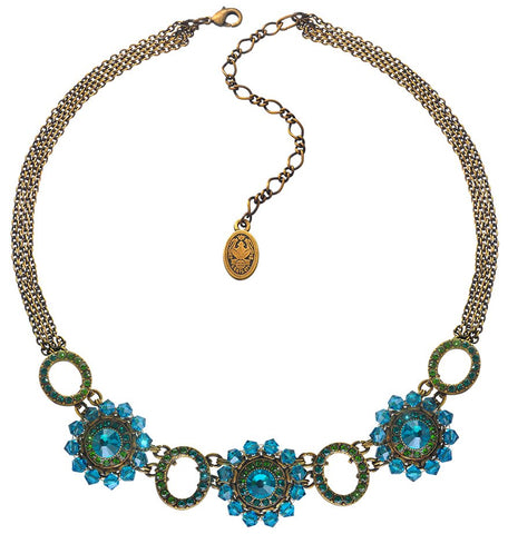 necklace Maharani blue/green antique brass