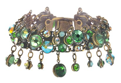 bracelet Waterfalls green antique brass