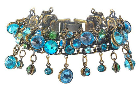 bracelet Waterfalls blue antique brass