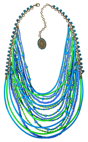 necklace collier Gipsy Sport blue/green Light antique brass