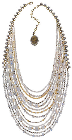 necklace collier Gipsy Sport white Light antique brass