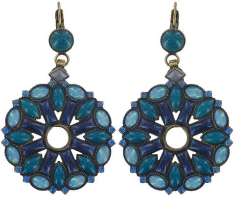 earring eurowire dangling Ethnic Mosaic blue/green antique brass small