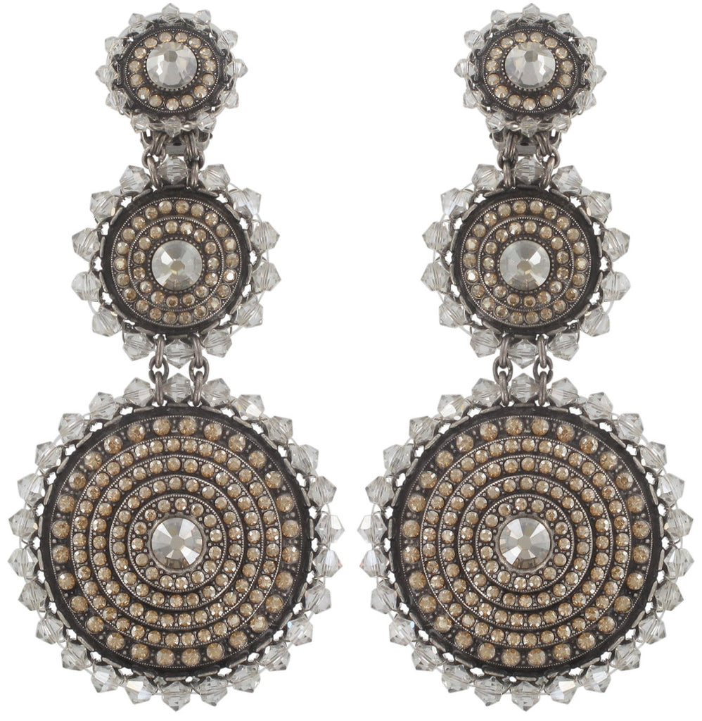 earring clip dangling Maharani beige antique silver