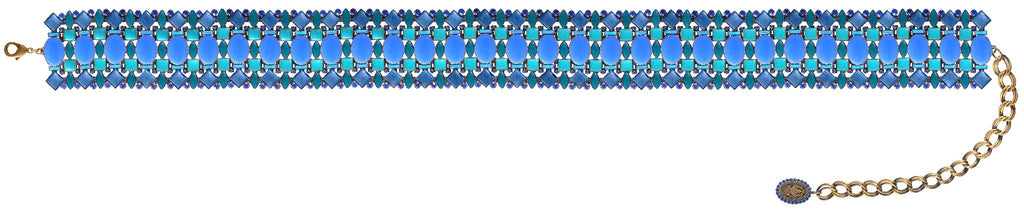 belt Ethnic Mosaic blue/green antique brass