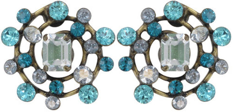 earring stud Hera blue antique brass