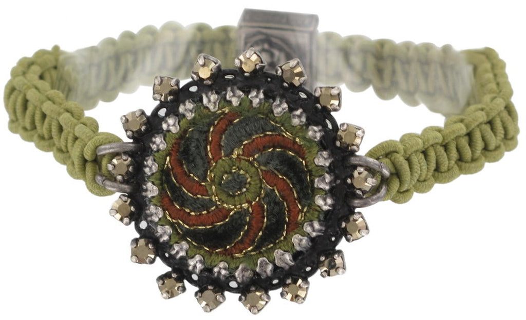 bracelet elastic Kalinka dark green antique silver