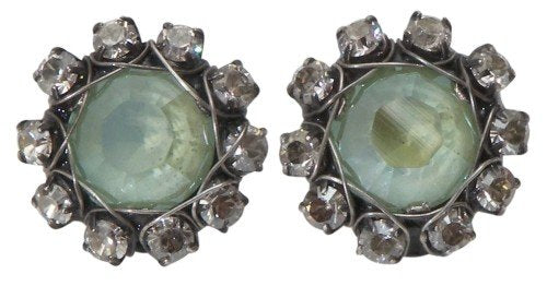 earring clip Vintage Couture pastel multi antique silver