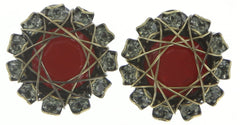 earring stud Queen of Elves black/red antique brass