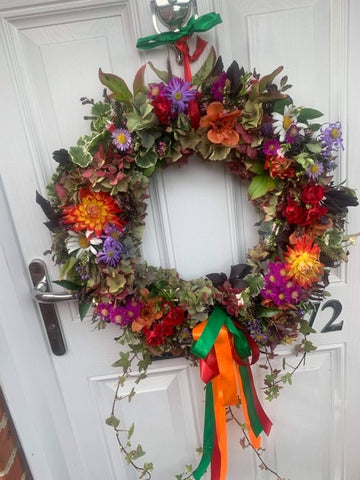 Colourful Autumn door wreath