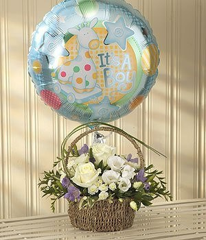 Basket - Blue Bundle Of Joy Balloon Gift Set