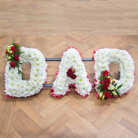 Funeral Flowers - 'Dad' Lettering