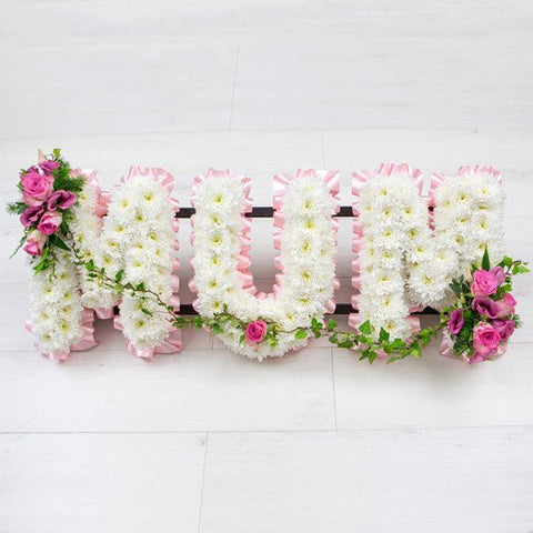 Funeral Flowers - 'Mum' Lettering