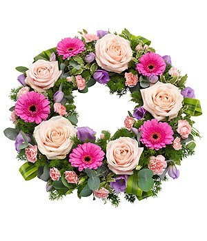 Funeral Flowers - Pink Wreath