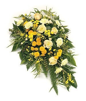 Funeral Spray - Country Spray; Yellow, Gold & Cream