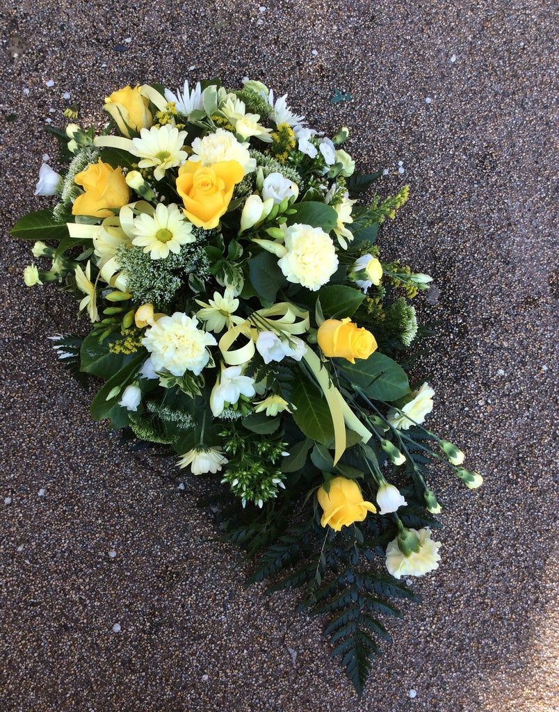 Yellow Cream And White Single Ended Spray Dawns Flower Box