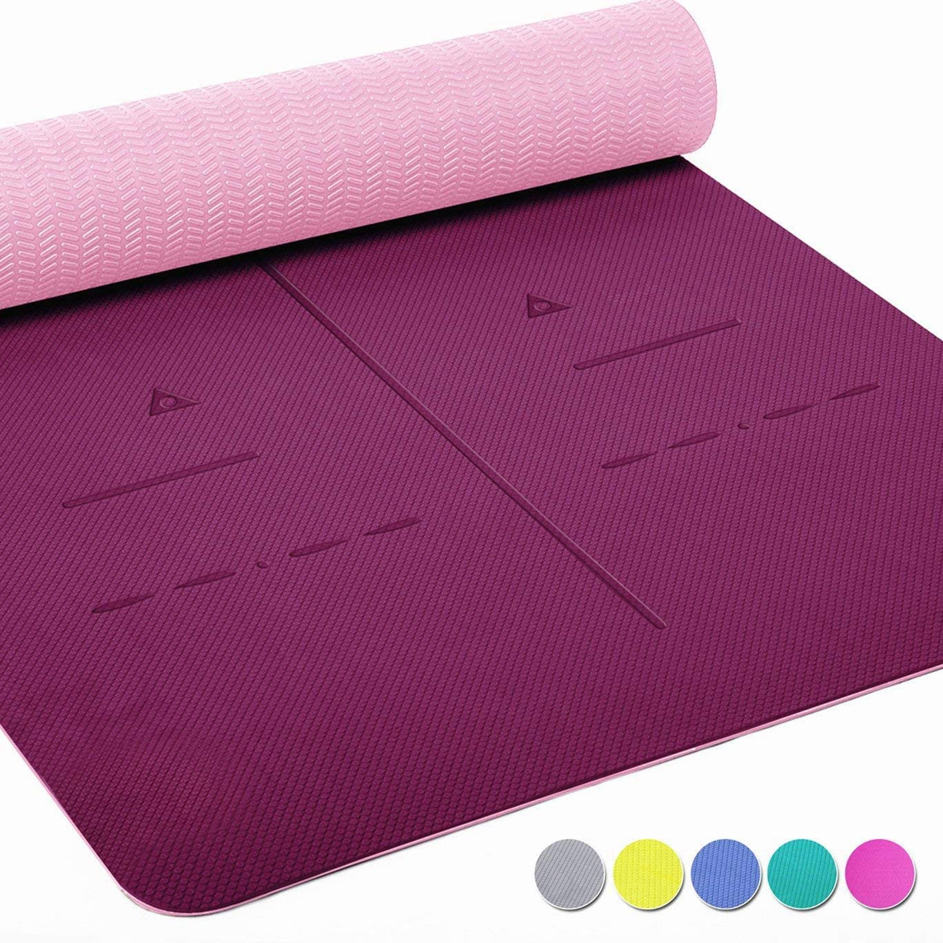 "Non Slip Yoga Mat, Body Alignment System, SGS Certified TPE Material - Textured Non Slip Surface and Optimal Cushioning,72""x 26"" Thickness 1/4"""