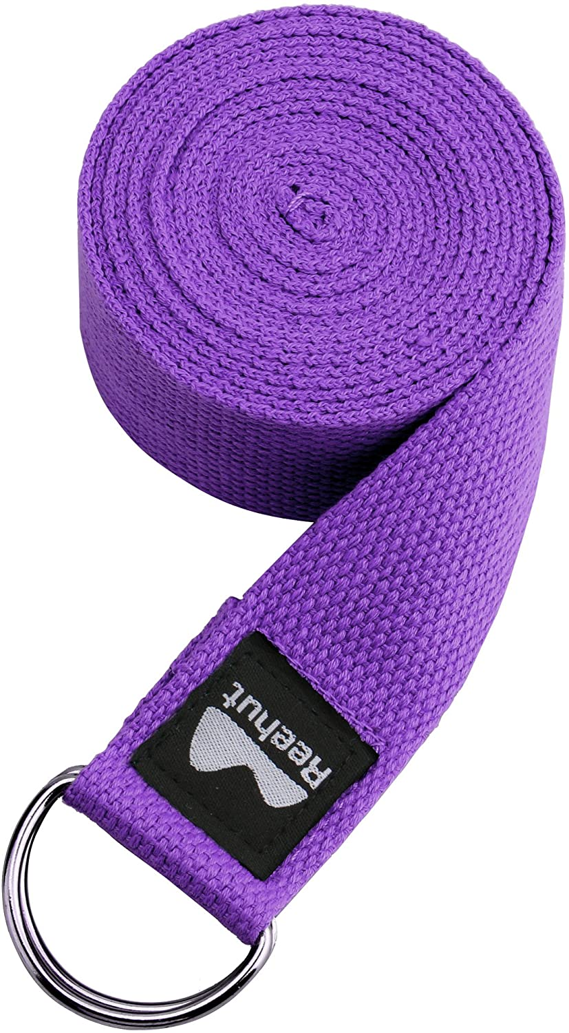 Yoga Strap w/Adjustable D-Ring Buckle - Durable Polyester Cotton Exercise Straps for Stretching, General Fitness, Flexibility and Physical Therapy