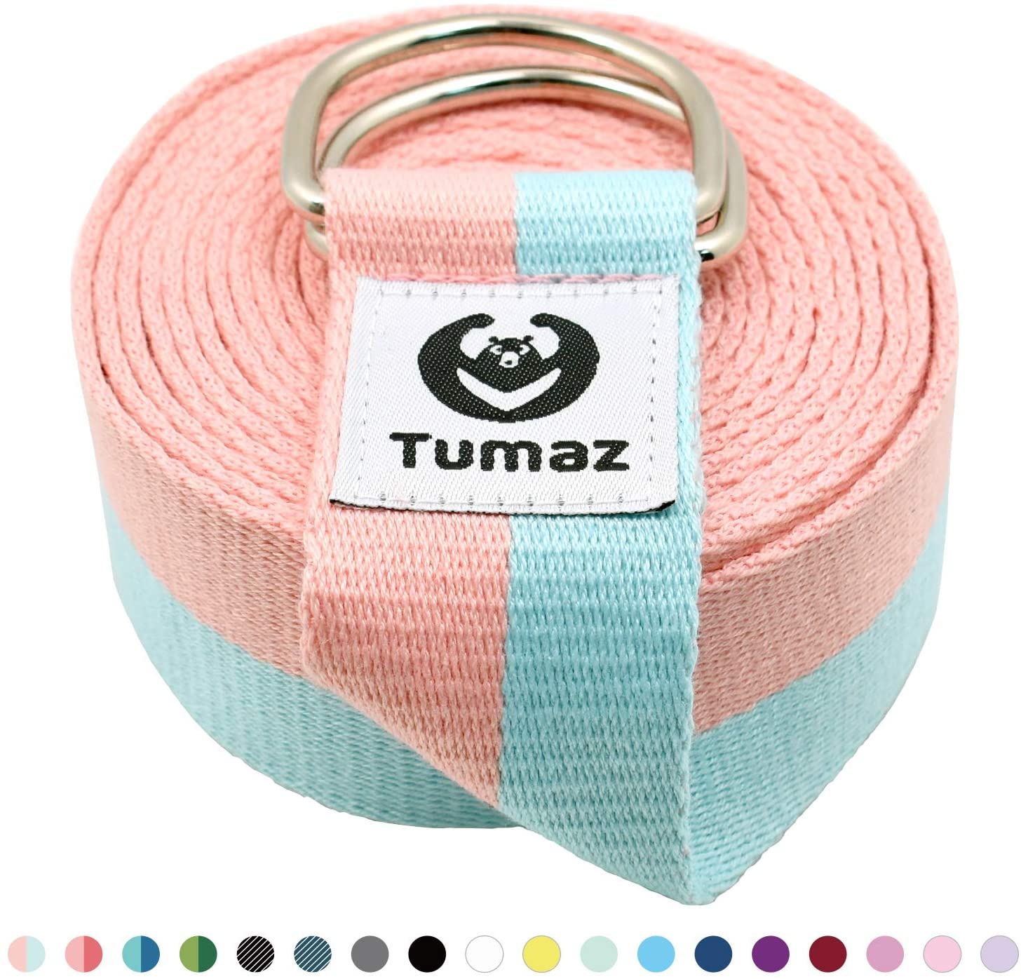 Yoga Strap/Stretch Bands with Extra Safe Adjustable D-Ring Buckle, Durable and Comfy Delicate Texture - Best for Daily Stretching, Physical Therapy, Fitness