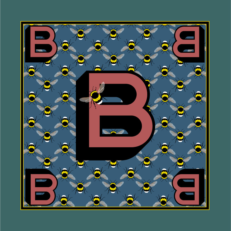 'B' silk pocket square
