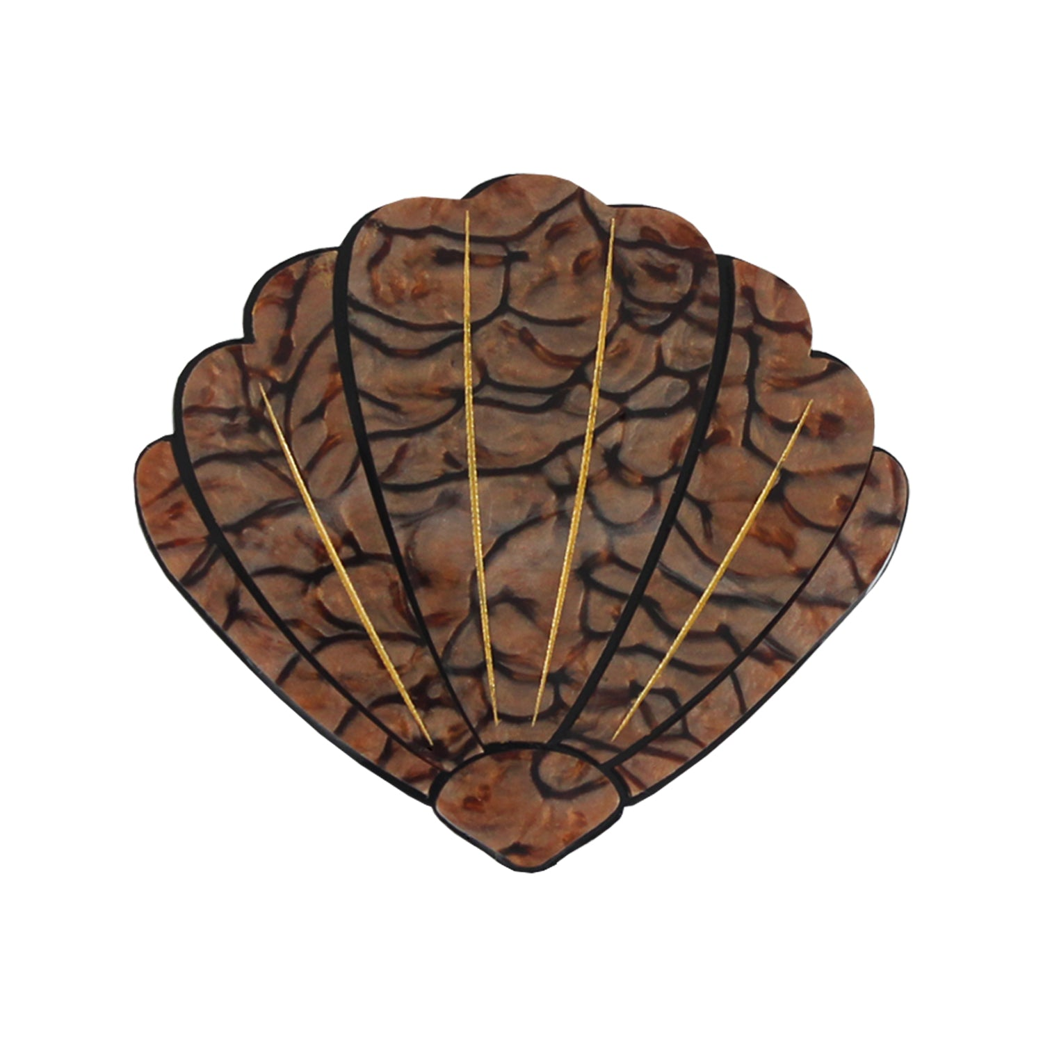 Brown Shell brooch