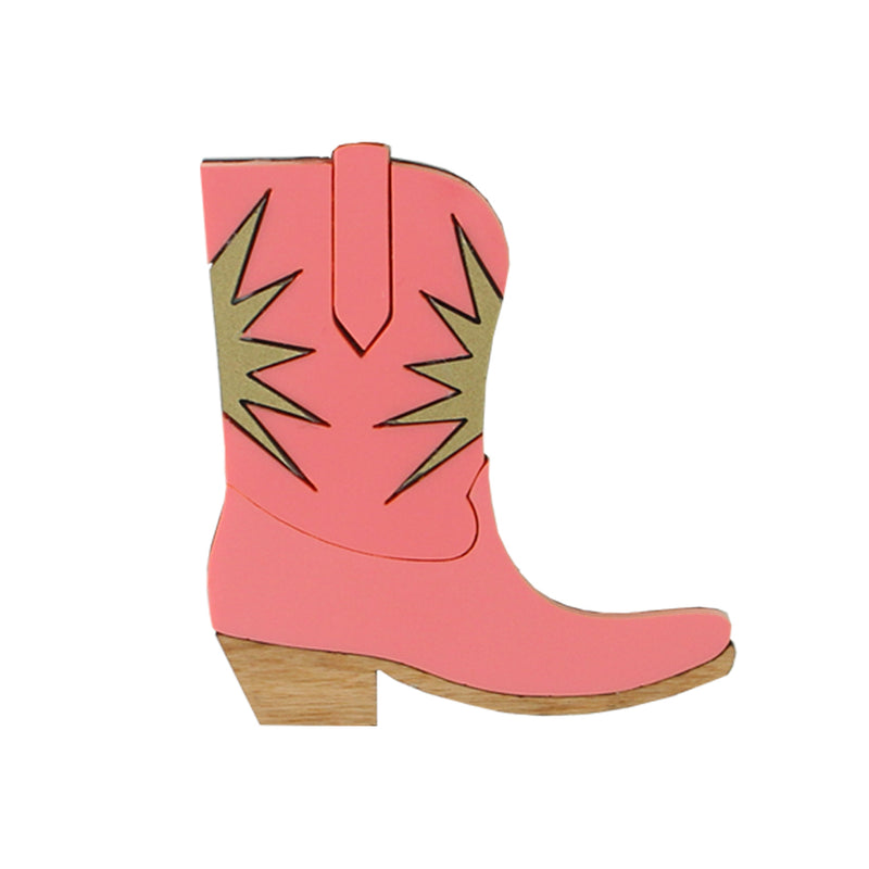 Cowgirl boot brooch - pink