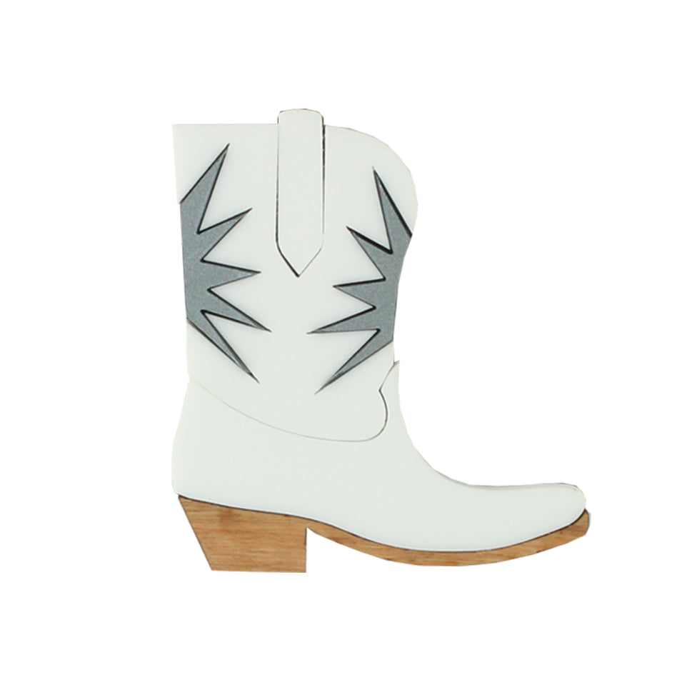 Cowgirl boot brooch - white