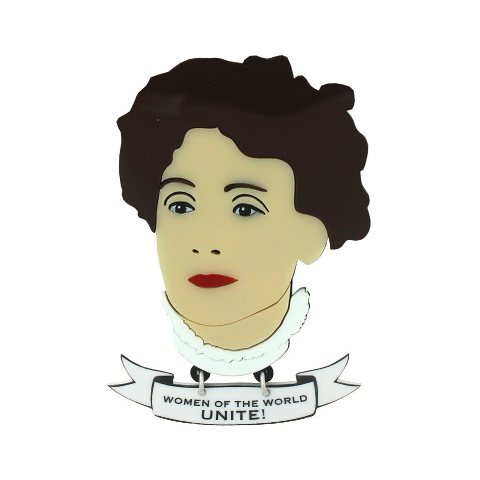 Emmeline Pankhurst brooch and banner