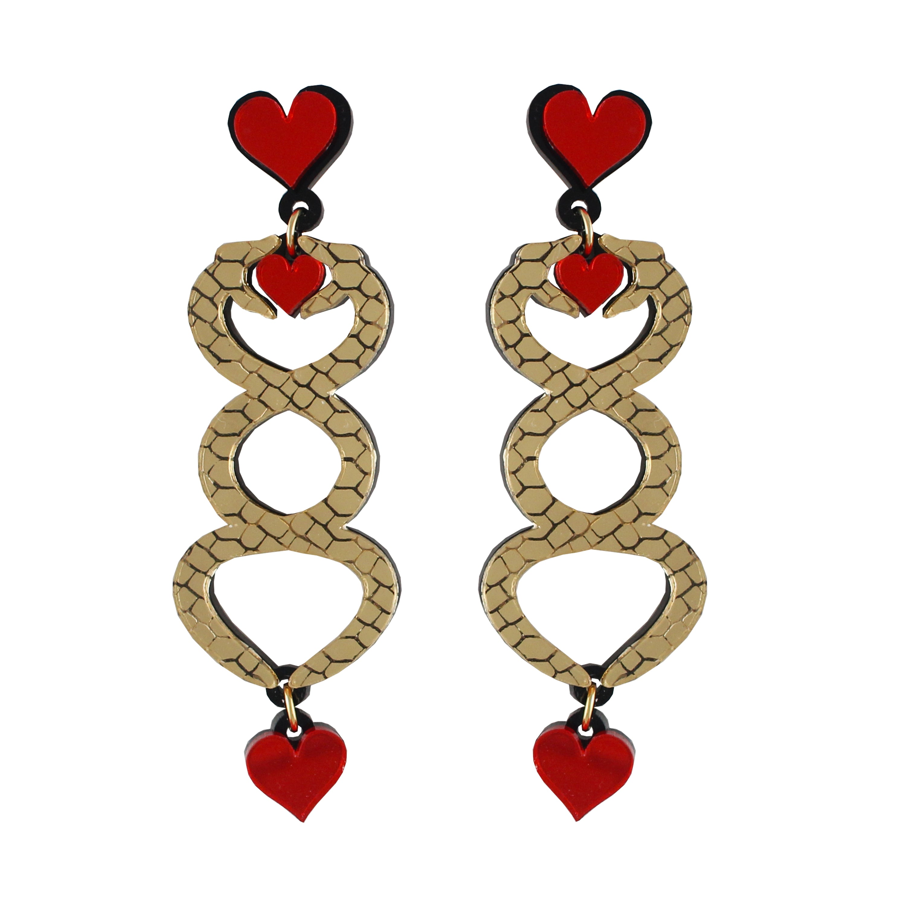 Entwined Snake and Heart Ear-rings