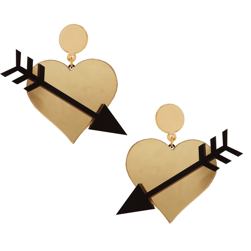 Straight through the heart Ear-rings (gold/black)