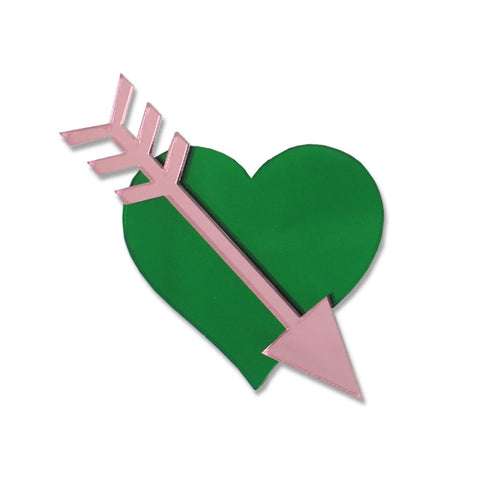 Straight Through The Heart Brooch (Green)