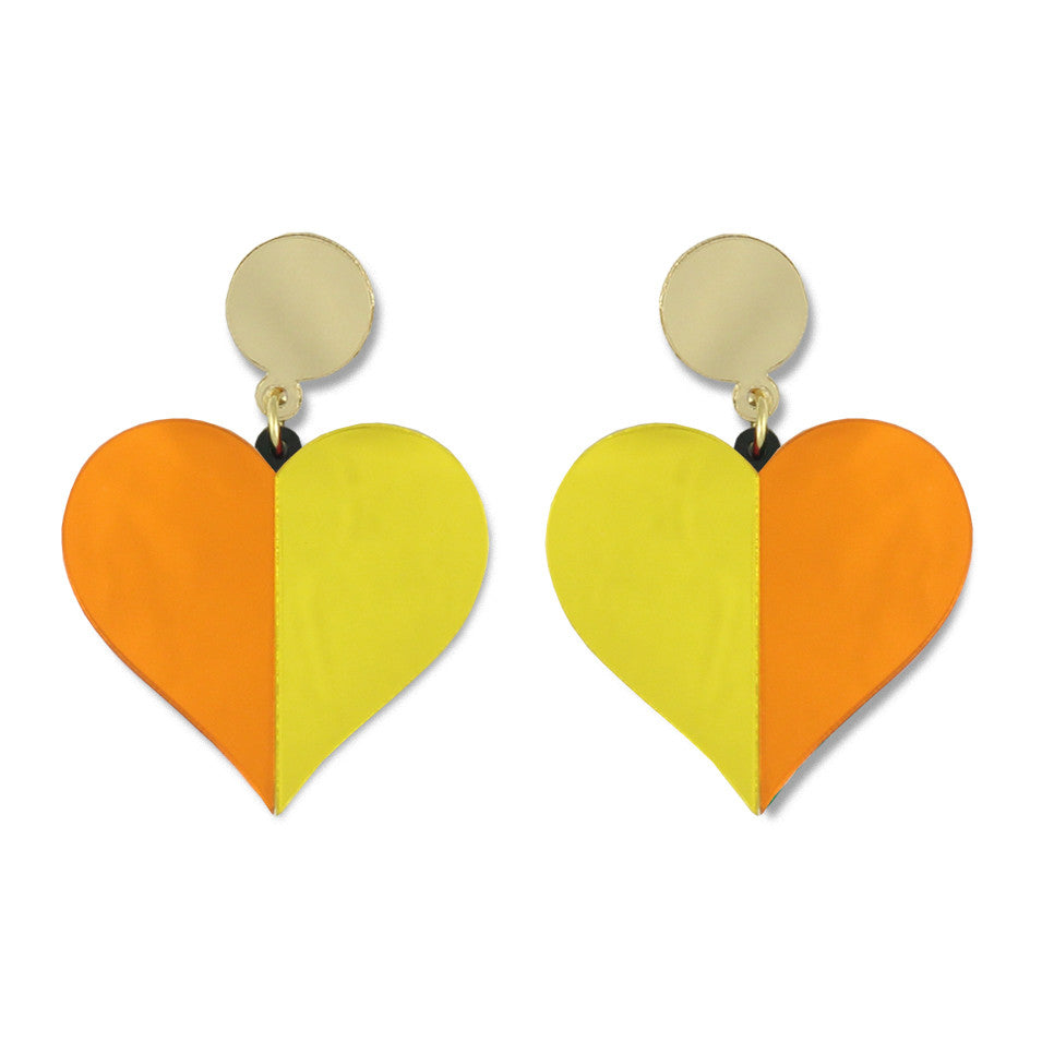 Half Hearted Ear-rings (yellow/orange)
