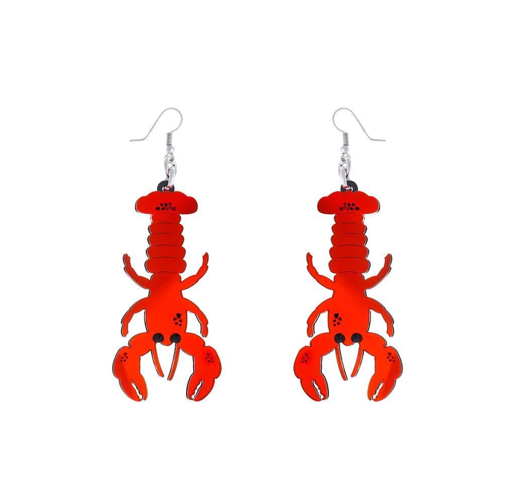 Lobster Ear-rings (red mirror)