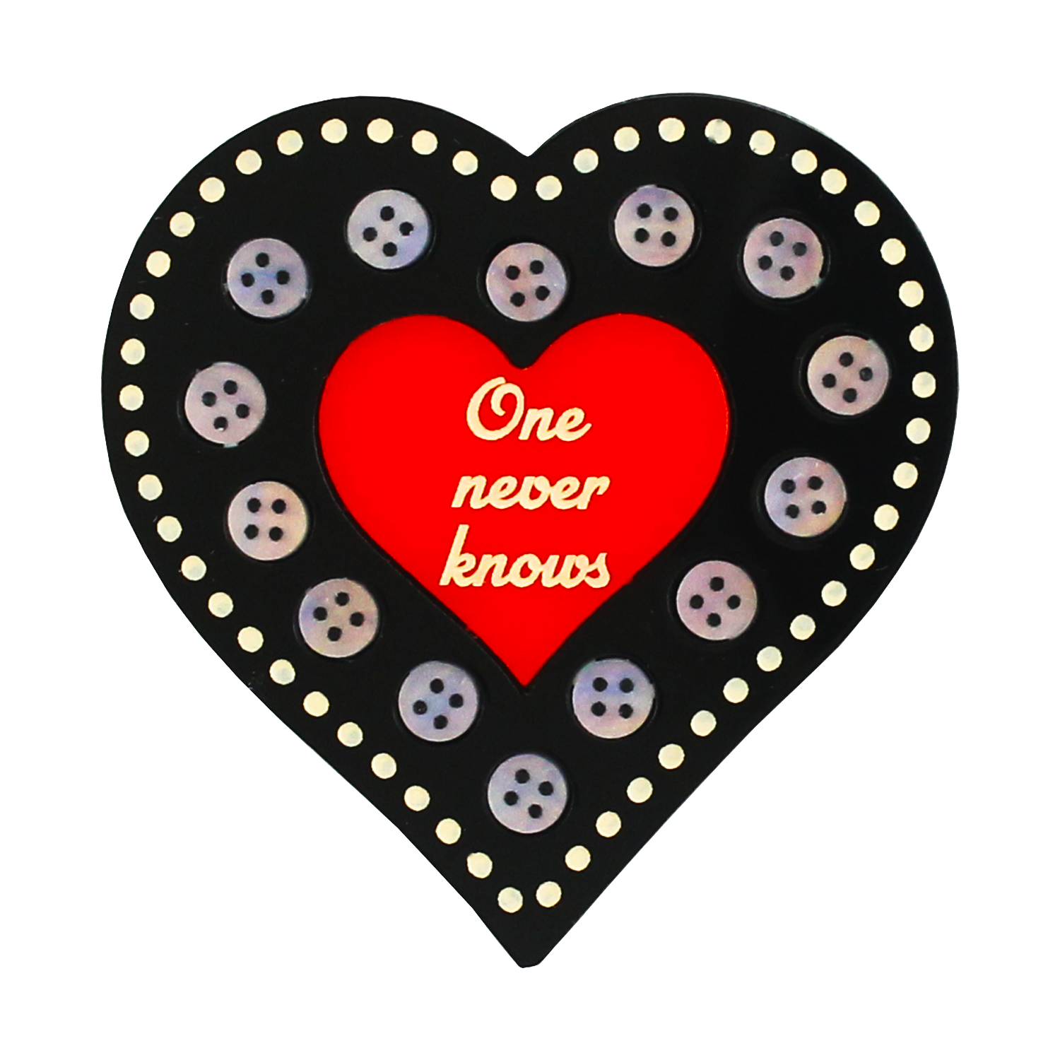 One Never Knows heart brooch