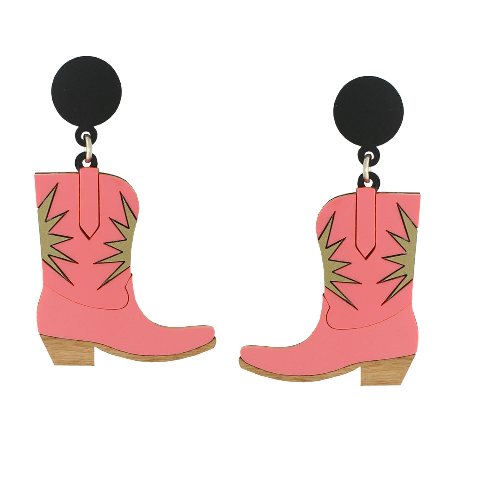 Cowgirl boot ear-rings - pink