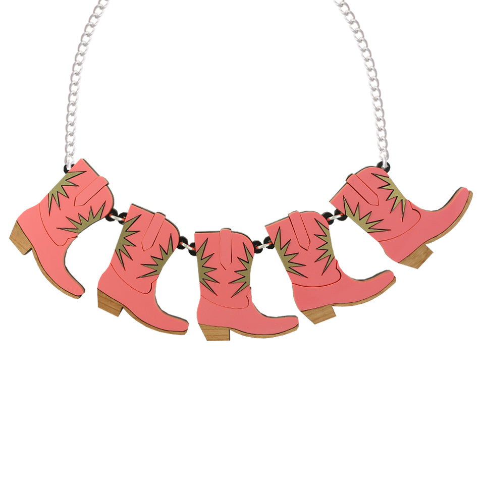 Statement Cowgirl necklace - pink - 3 boots