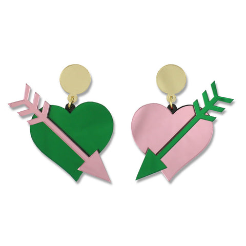 Straight Through the Heart Ear-rings (pink/green)