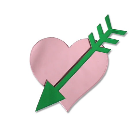 Straight Through The Heart Brooch (Pink)