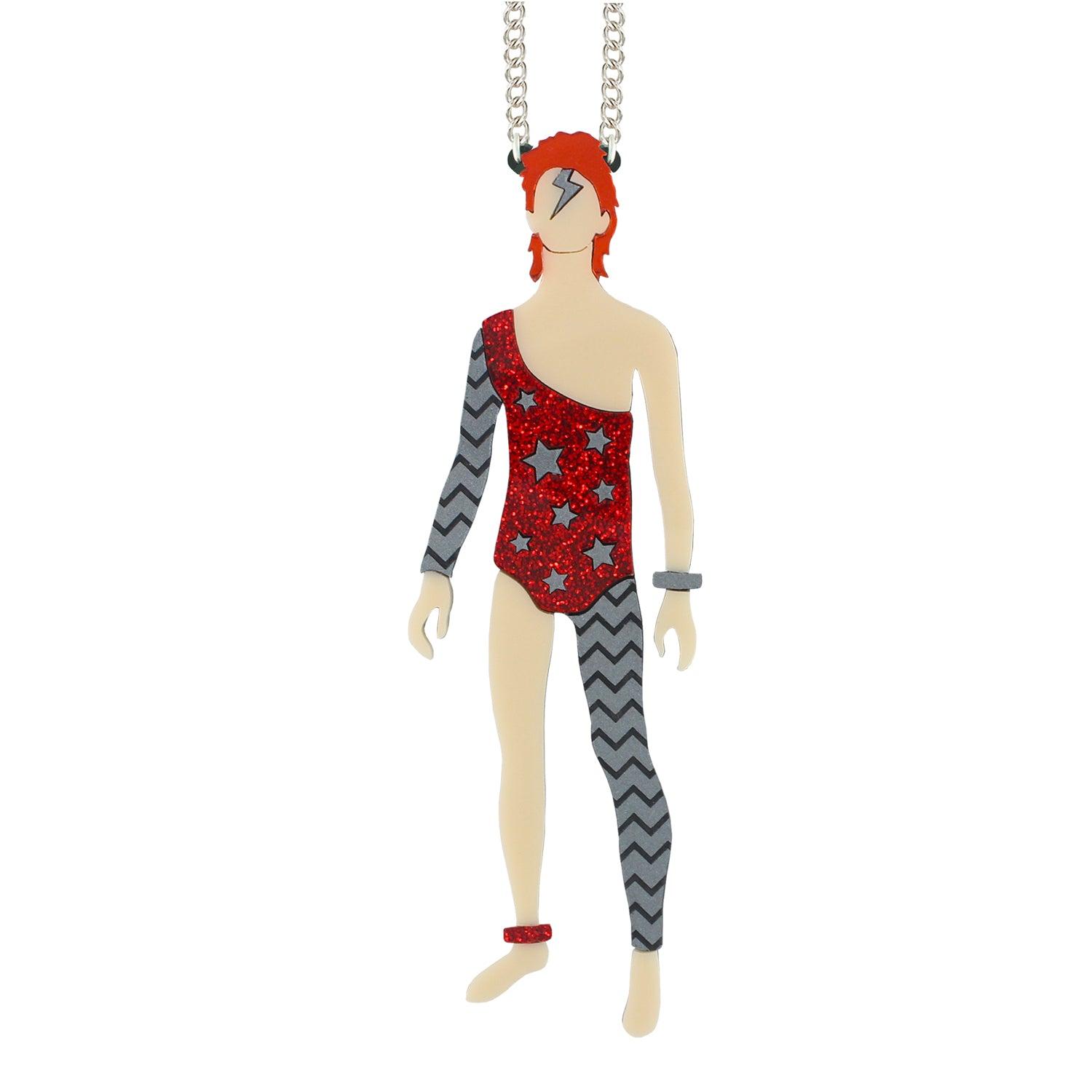 Limited Edition Bowie necklace (red/silver)