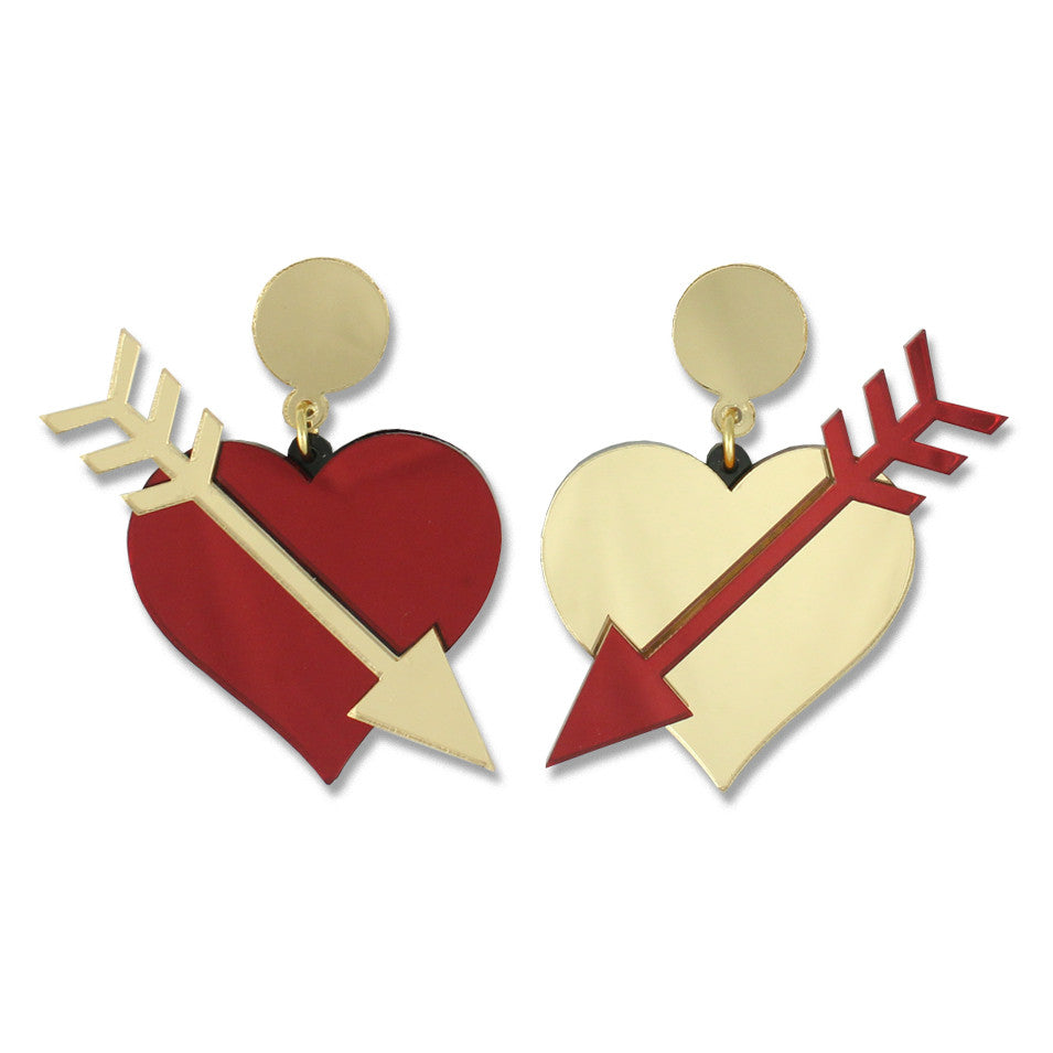 Straight Through the Heart Ear-rings (red/gold)