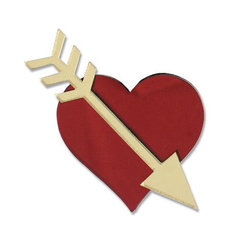 Straight Through The Heart Brooch (Red)