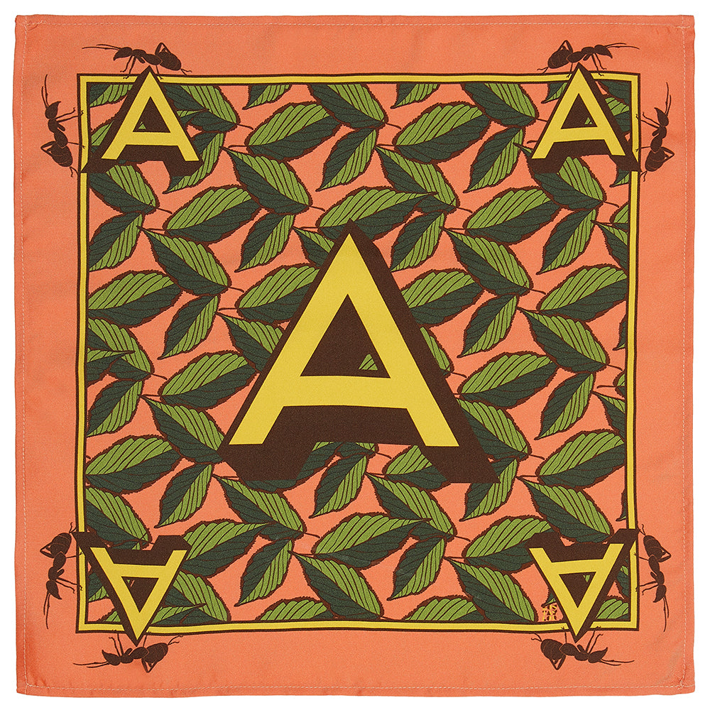 'A' silk pocket square