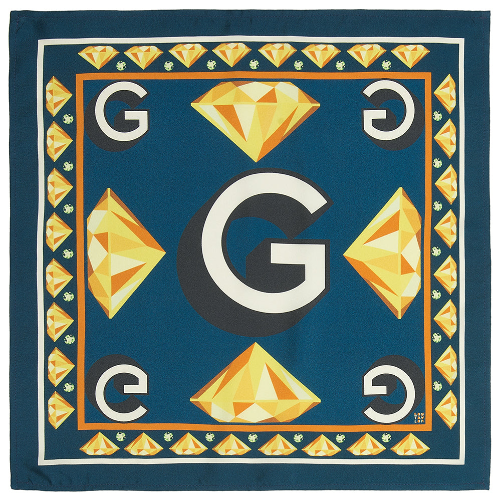 'G' silk pocket square