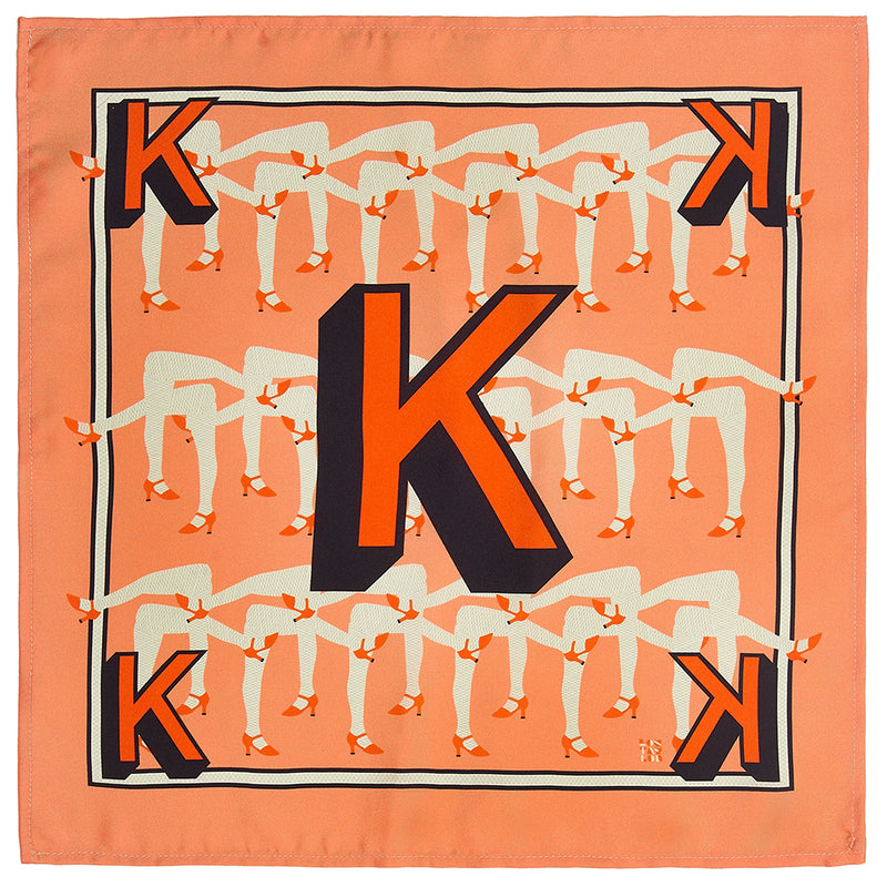 'K' silk pocket square