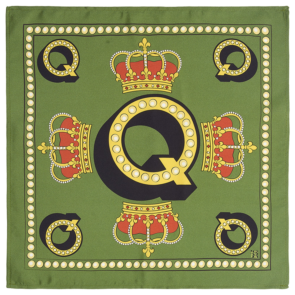 'Q' silk pocket square