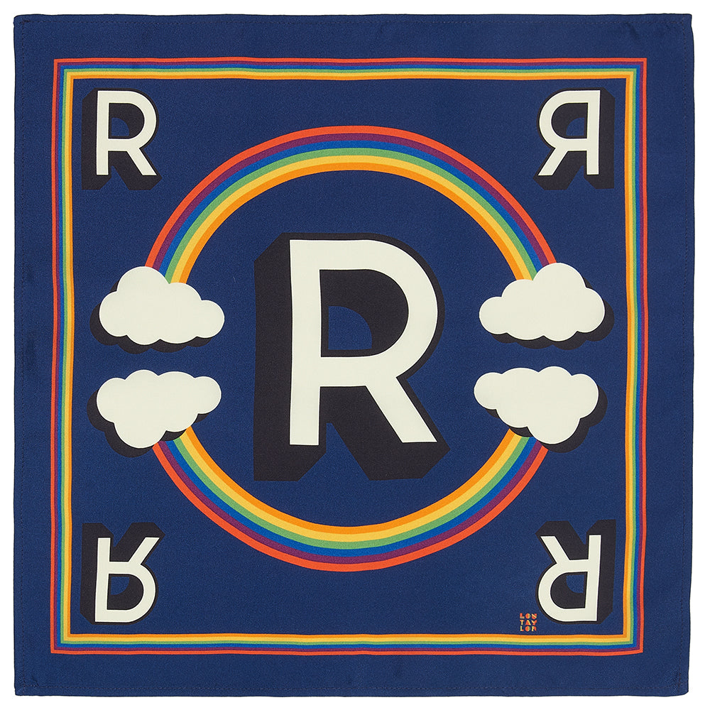 'R' silk pocket square